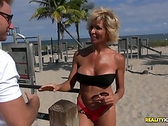 Juggy harlot Lyla seduces young stud and gets her old pussy torn up