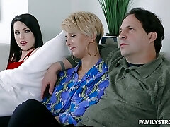 Spoiled stepdaughter Raven Reign seduces her step-dad in front of sleeping mommy