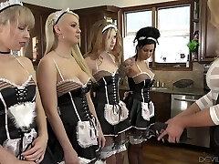 Lesbian dominatrix Briana Banks is licking and rimming crevasses of several nasty maids