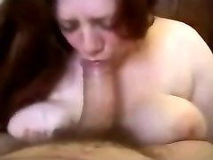 redhead bbw bigboobs bigtits amateur deepthroat blowjob