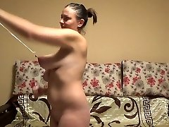 Stupid cockslut stretches her ugly saggy tits hard