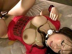 Amazingly Japan cutie Momoka Hayami deepthroating a firm penis and getting anally frigged