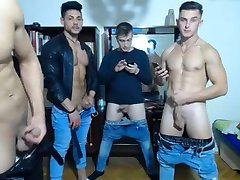 4 Romanian Gorgeous Boys With Hard Cocks Have Fun On Cam