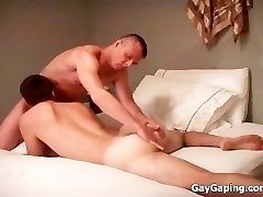 Gorgeous gay gives blowjob and gets bootie pummeled