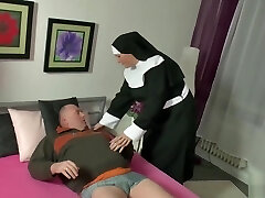 German Otter Chub being satisfied by a nun