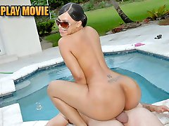 Super hot latina and her big ass booty get drilled by the pool doggystyle in these amazing...
