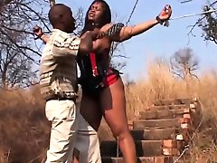 African Teen Abused Bound By Chains Leather