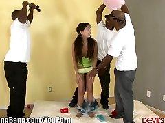 DevilsGangBangs Petite Teen Gets Banged By 3 Black Spears