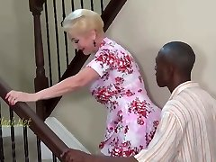 Blonde Granny Invites Dark-hued Father For Creampie.
