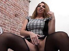 Slut jacks gloryhole cock