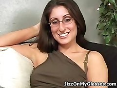 Jiggly College Girl Dasha Loves Cum All Over her Glasses