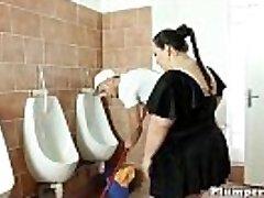 Obese bbw boinked on shower floor after 69