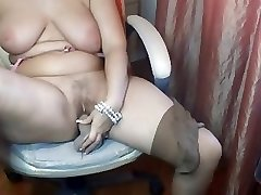 Obese Aged Plays with Herself