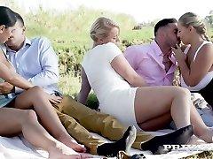 Russian bombshell Kira Queen swaps her Boyfriend with bodacious nympho for swinger fuck