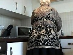 Sweet granny shows hairy pussy immense ass and her boobs