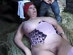 FRENCH BBW GRANNY OLGA Pounded BY 2 Fellows IN THE FARM