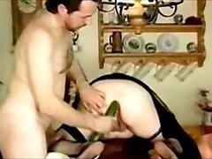 Cuck husband insert Cucumber in enormous ass-hole