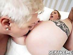Plump granny Astrid in hot lesbian sex with mischievous cute Lulu