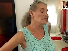 Short haired gal Tricia Teen porks a granny and a naughty fellow in 3some