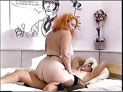 Enormous ass redhead mature porks a young cock