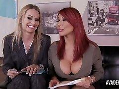 Ava Devine and Natasha Starr in office threesome