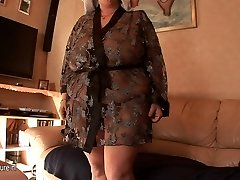 Big mama getting youthful jizz on her tits