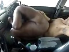 black couple fucking in the car