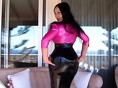 Sexy Chesty Latex Diva on the Terrace - Bj Handjob with long pink nails - Jism on my Tits