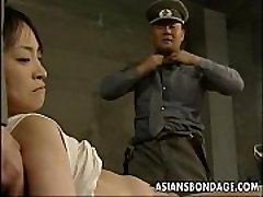 Japanese dame restricted down and stuffed with fat dicks