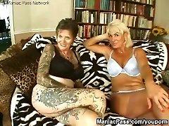 Tattooed girl-on-girl granny fucked