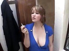 smoking girl down blouse big knocker