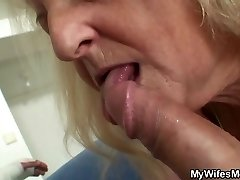 Blonde old granny rails his hefty dick