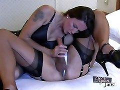 Nylon Jane sucks amazing phat cock before fuckin TGirl backside