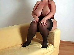 Breasty سمنة الأم أود أن اللعنة في النايلون