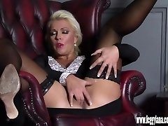 Horny blonde Milf finger boinks tight moist puss in nylon after date night