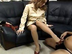 Yuuko puts soles in shoes on phallus