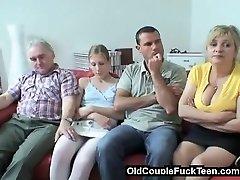 Older couple tempts newlyweds