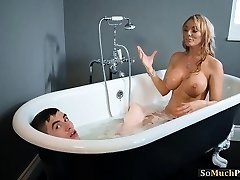 Huge knockers MILFs enjoying three-way sex in the tub