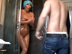 Real stepson rescuses step-mom from the douche