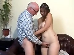 Chubby german girl porked by aged man