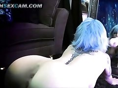 Mirror Fuck Stick Fuck Double Foray Blue Hair Tattoo Emo Cam Slut Punk HD