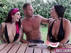 Cute emo sluts are eager to jump on that huge fat man-meat