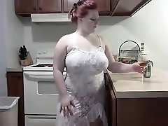 Wild Red-haired BBW striping on Webcam