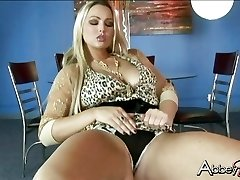 Seductive Abby Brooks getting humid and insane on a stool by herself