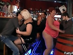 Funny big fun bags party in the bar