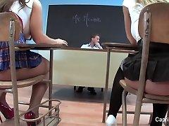 2 super-naughty schoolgirls have fun with their teacher