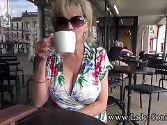 UK MILF Sonia shows her boobs in public, and fellates dick on side road - LadySonia