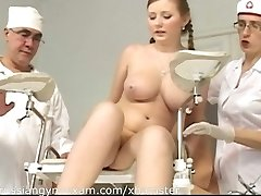a plumpy busty Russian babe on a obgyn exam gets abased