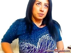 Steaming Latin milf warm creampie on webcam