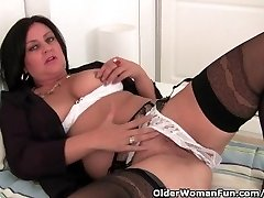 Mature Mom Drains In Stockings And Crotchless Underpants